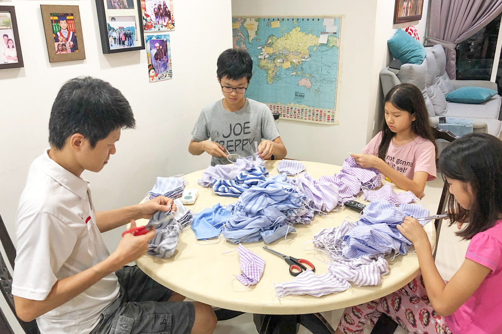 Coming together to make face masks for migrant workers